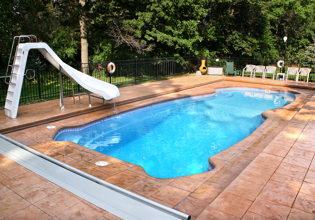 Image of Residential In-ground Fiberglass Pool with equipment in Ontario
